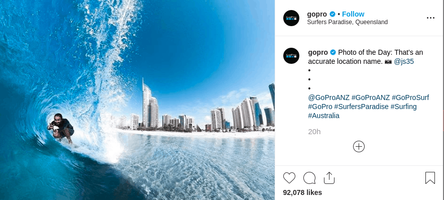 Go Pro produces video content and gets higher engagement in return than regular image posts.