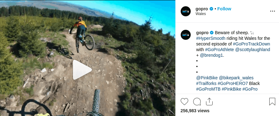 Go Pro produces video content and gets higher engagement in return
