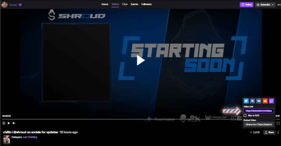 The steps to find the video URL and download Twitch videos