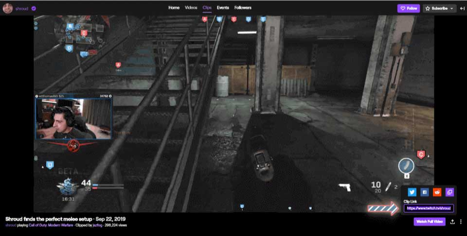 Copying a clip's URL on Twitch