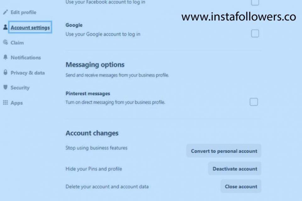 Delete Pinterest Account on Internet Browser