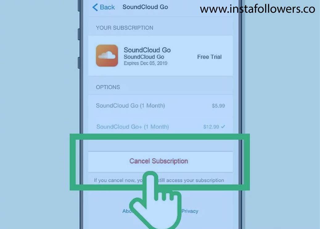 Cancel SoundCloud Go on Mobile