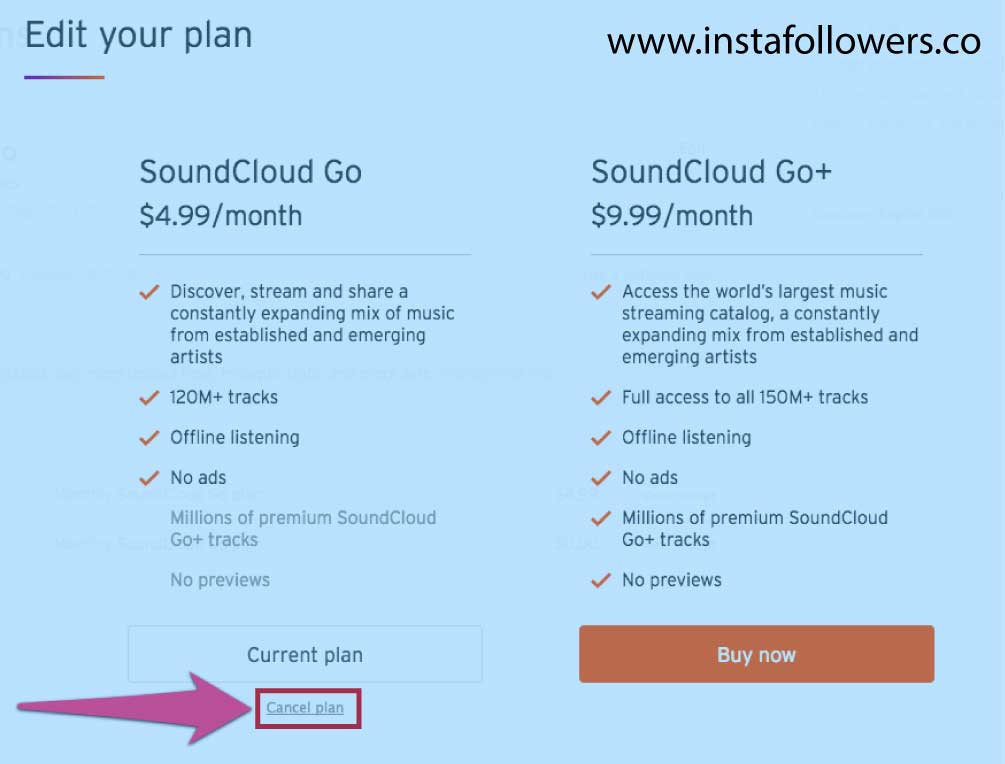 Unsubscribe from SoundCloud Go and Pro