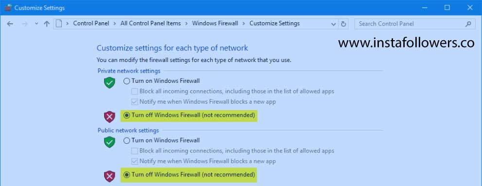 Disable Windows Defender Firewall