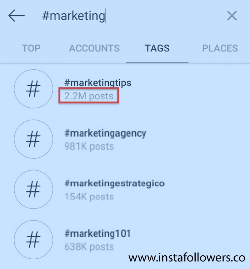 Find top hashtags