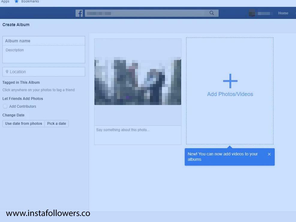 Facebook album on the desktop