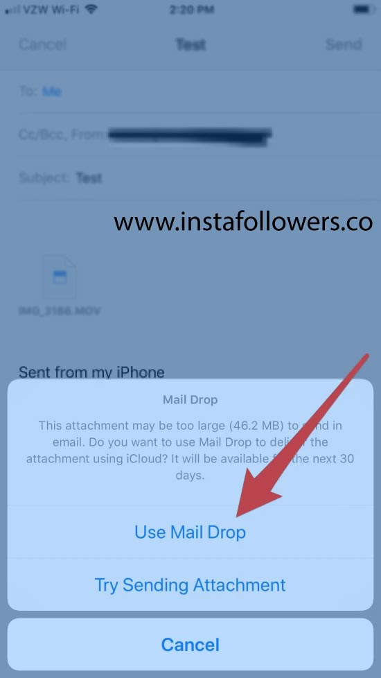 Send large videos from iPhone