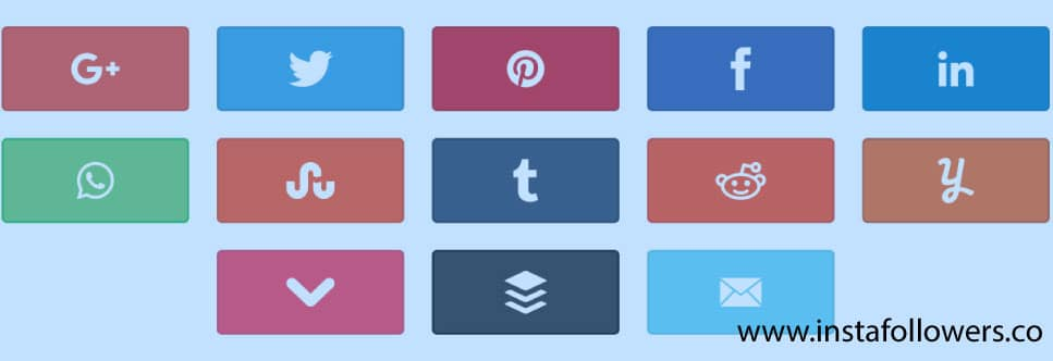 types of social media buttons