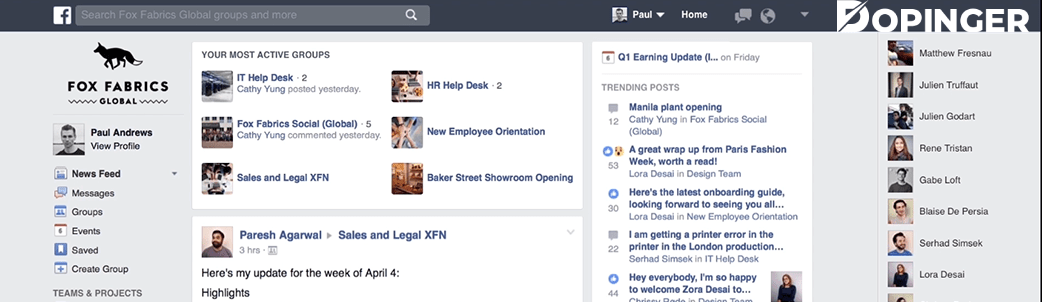 features of workplace by facebook